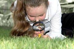 Fille - regards par la lentille Image libre de droits