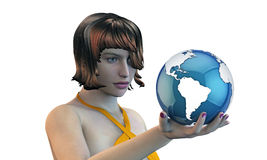 Fille retenant la terre dans sa main Image libre de droits