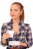 Fille retenant une cuvette de café photo stock