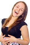 Fille riant à l'extérieur fort photographie stock libre de droits