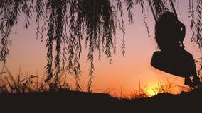 Fille riante heureuse d'enfant sur l'oscillation dans la vidéo d'été de coucher du soleil clips vidéos
