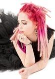Fille rose de cheveu Images stock