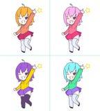 Fille rose mignonne de chibi d'anime dirigeant l'ensemble Photos stock