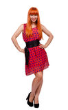 Fille rouge de cheveux à intégral Photo libre de droits
