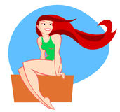 Fille rouge de cheveux illustration libre de droits