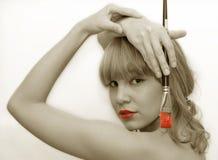 Fille rouge de languettes Images libres de droits