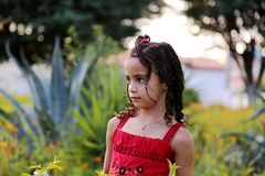 Fille rouge de robe Photos stock