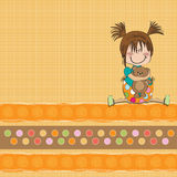 fille s'asseyant avec son ours de nounours Images stock
