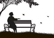 Fille s'asseyant sur le banc sous les moineaux d'arbre et d'alimentation, ombres, silhouette sur le fond blanc illustration libre de droits