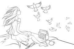 Fille s'asseyant sur le toit et regardant des pigeons Images libres de droits