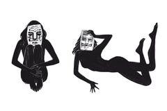 Fille s'asseyante et menteuse d'illustration de trame de Digital dans le masque dans les objets d'isolement par couleur noire sur illustration stock