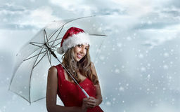 fille Santa Image libre de droits