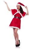 Fille Santa de neige dans le concept de Noël Image libre de droits