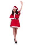Fille Santa de neige dans le concept de Noël Image stock