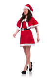 Fille Santa de neige dans le concept de Noël d'isolement Photos libres de droits
