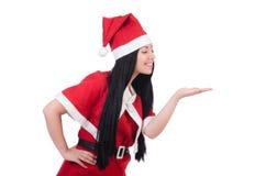 Fille Santa de neige dans le concept de Noël d'isolement Images stock