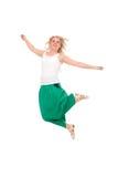 Fille sautante heureuse. photo stock
