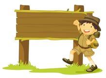 Fille scout et signe illustration de vecteur