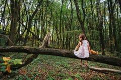 Fille se tenant dans le portrait en bois d'une fille dans les bois Ours Photos stock