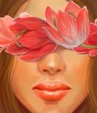 Fille sensible avec des tulipes de cheveux foncés et de fleurs dans le style de la peinture à l'huile Photographie stock libre de droits