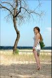 Fille seule dans une belle robe argentée sur l'être Photo libre de droits
