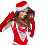 Fille sexy avec des cadeaux de Noël Images libres de droits