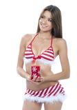Fille sexy d'aide de Santa dans le bikini éliminé rouge Photo stock