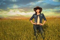 Fille sexy dans le chapeau de cowboy Images stock
