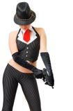 Fille sexy dans le costume du bandit avec une arme à feu Images libres de droits