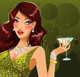 Fille sexy de martini Photos stock