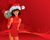 Fille sexy de Santa illustration stock