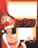 Fille sexy de Santa avec deux espaces vides pour le texte Photographie stock