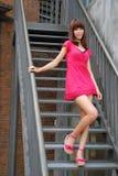 Fille sexy sur les escaliers Photo libre de droits