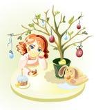 Fille sous l'arbre de Pâques Photographie stock libre de droits