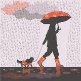 Fille sous la pluie 1 illustration stock