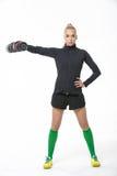 Fille sportive avec l'haltère Photographie stock libre de droits