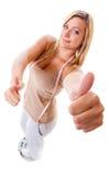 Fille sur des échelles célébrant des weightloss Photo libre de droits