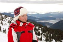 Fille sur des skis Photographie stock libre de droits