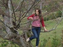 Fille sur l'arbre Photographie stock