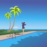 Fille sur l'edg de la piscine illustration stock