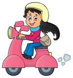 Fille sur l'image 1 de thème de scooteur illustration libre de droits