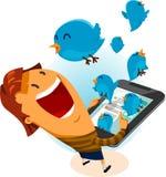 Fille sur l'oiseau de Twitter Photo stock