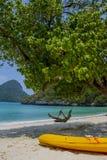 Fille sur l'oscillation dans une plage Photographie stock libre de droits