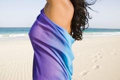 Fille sur la belle plage. Image libre de droits