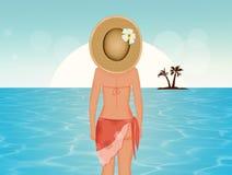 Fille sur la mer illustration de vecteur