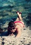 Fille sur la mer Photos libres de droits
