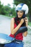 Fille sur la moto Image libre de droits
