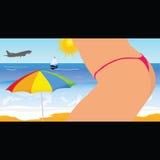 Fille sur la partie quatre de vecteur de plage Photos libres de droits