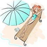 Fille sur la plage illustration de vecteur