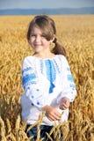 Fille sur la zone de blé Photographie stock libre de droits